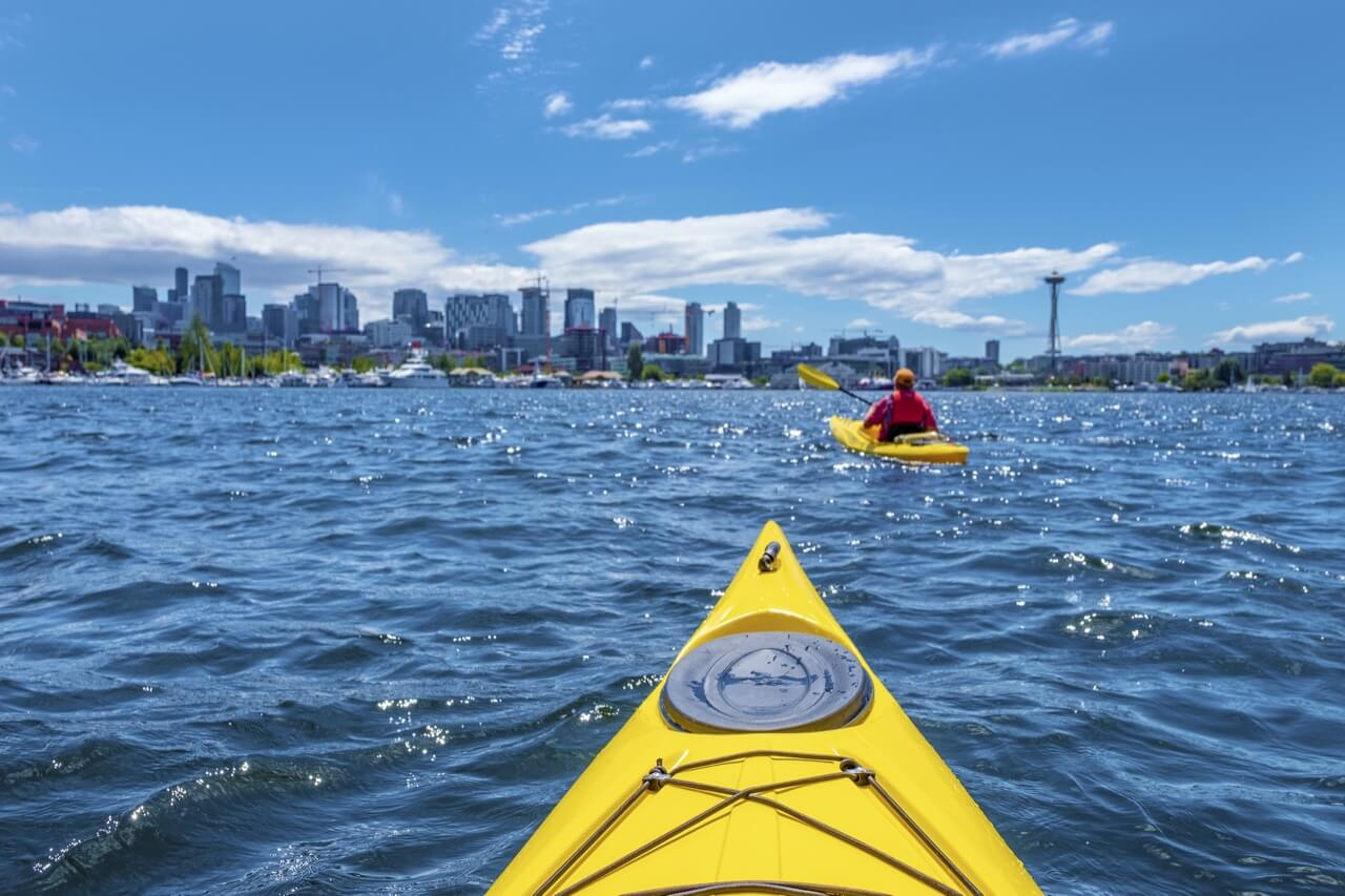 Kayaking at Lake Union in Seattle, WA